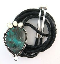 Handmade Sterling Silver Bolo Tie with Turquoise & Mother of Pearl