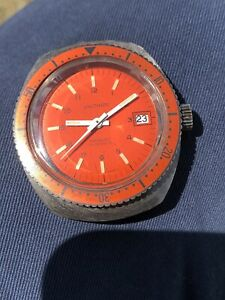 Vintage Waltham Orange Dive Watch 36mm Manual Wind Tritium Lume