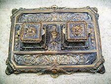 Vintage Brass Double Inkwell Art Nouveau