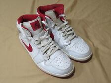 Men's Nike Air Jordan Retro 1 Mid White Black Gym Red 554724-101 2014 Size 12