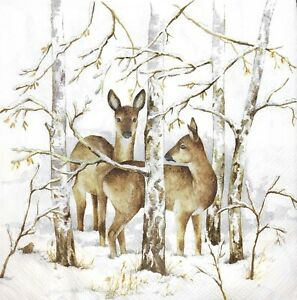 3 x Single Paper Napkins For Decoupage Craft Deer Elk In The Trees M873