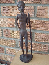 African Wood Carving of a Male with Walking Stick/Pole