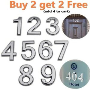 """3D Door House Numbers Self Adhesive Chrome Times Roman Style 2"""" 3"""" Digits 0~9"""