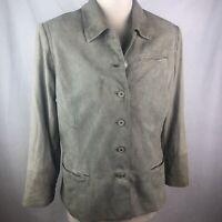 St. John Sport Suede Leather Jacket Sz L Coat Blazer Grey Taupe
