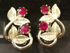 With Red Stones Clip On Earrings Silvery
