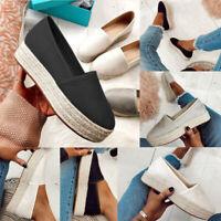 Womens Platform Espadrilles Pumps Ladies  Slip On Comfy Loafers Shoes HM