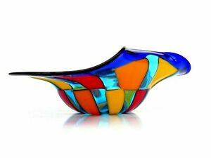Signed Murano Multi Coloured Pezzato Mazzega Freeform Bowl & Label Superb