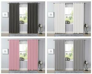 Blackout Eyelet Curtains Black Out Thermal Ring Top Ready Made Curtain Pair