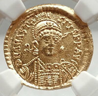 ANASTASIUS Authentic Ancient 498AD Byzantine GOLD Solidus Coin NGC Ch MS i75094