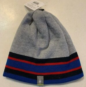 """Smartwool """"Kids Reversible Slopestyle Stripe Hat"""" Youth Small Grey Blue $28"""