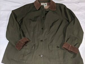 Women's LL BEAN Field Jacket Barn Coat Olive Green Plaid Flannel Lining XXL