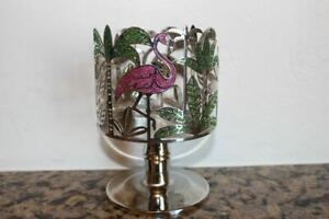 Bath & Body Works Glittery Pink Flamingos & Palms 3 Wick Pedestal Candle Holder