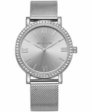 Timothy Stone Women's 'Indio' Minimalist Crystal Accented Silver Tone Mesh Watch