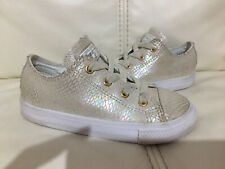 Infant Girls Converse Cream Iridescent Scale Trainers Shoes 9
