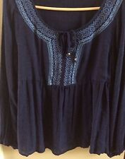 SONOMA NAVY EMBROIDERED TIE NECK LONG SLEEVE PEASANT TOP SZ. SMALL NWT