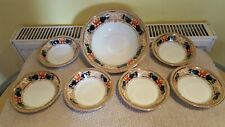 More details for myott sons & co lotus yellow dragon 6 soup/dessert bowls and large serving dish