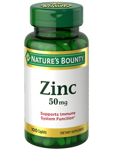 Nature's Bounty Zinc 50 mg 100 Caplets, for Immune System Support, Immune Health