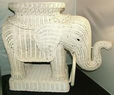 Vintage White WICKER ELEPHANT Table Plant Stand Sculpture Wicker Tusks