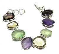 Multi Gemstone Natural Gemstone Handmade 925 Sterling Silver Bracelet 7-8""
