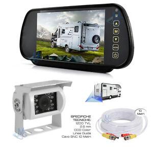 """Specchietto Retrovisore 7"""" Telecamera Retrocamera 18 LED HD per Camper Auto"""