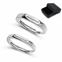 2PCS Personalized Stainless Steel Women Men Couples Custom Name Letters Rings