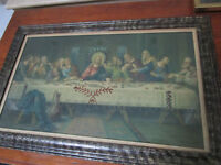 ANTIQUE HAND COLORED LITHOGRAPH THE LAST SUPPER FRAMED