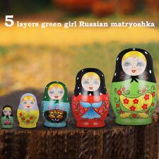 Prettyia 5pcs Wooden Russian Dolls Babushka Matryoshka Toy Christmas Gift