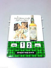 Inver House bar sign tin tacker calendar green plaid rare scotch whiskey old BP4