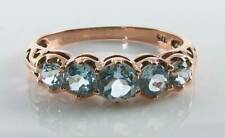 DIVINE 9K 9CT ROSE GOLD BLUE TOPAZ ART DECO INS ETERNITY 5 STONE RING FREE SIZE