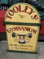 Antique Iconic Tooley Street Gymnasiam Wooden Carved OId Man Advertising Sign
