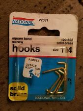 "1"", #114 Solid Brass Square-bend Screw Hook, 5 Pack N120-568 New Old Stock"