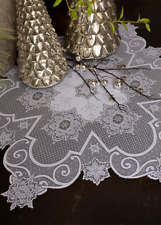 """Heritage Lace White Snowflake 47"""" Round Table Topper - Christmas, Winter"""