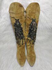 $172 Vintage Caparro's Beaded Fringe Khaki Suede Embellished Festival Boots 8