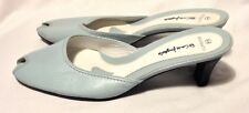 Barrats shoes size 5 (38) light blue all leather mid heel peep toe mules.