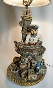 Vintage Apsit Bros of Calif Rare 1987 Nautical Ship Builder Lamp Fisherman
