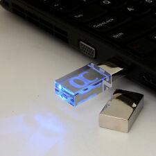 64GB USB 2.0 Flash Memory Stick Crystal Transparent Storage LED Light Novel Gift