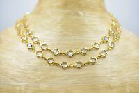 Austrian Crystal Signed Open Bezel Necklace Clear Strand Gold Tone Vintage Bin4