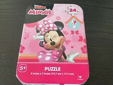 New Sealed Disney Minnie Mouse Puzzle Tin Box Pink Bows 24 pieces Travel
