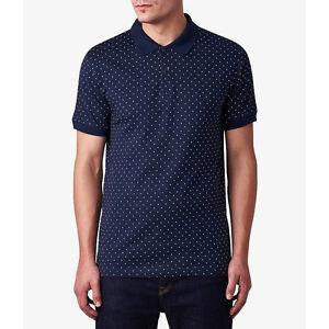 Twisted Gorilla Navy Polka Dot Pique Size Small Polo Shirt T-Shirt Top