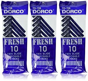 Dorco Fresh Twin Blade Disposable Razors 10 per pack (3 packs)