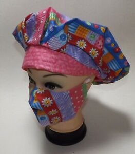 Summer Stripe Button Print & Pink Bouffant Scrub Hat/Cap Coordinating Mask NWOT