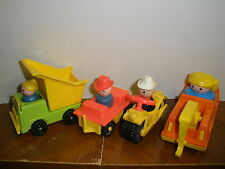 lot of vintage Fisher Price vehicles & people dump truck, motorcycle, tow truck,