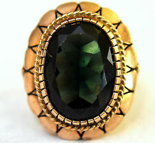 Antique 14k Solid Rose Gold and Synthetic Dark Green Citrine Ring Size 6.25