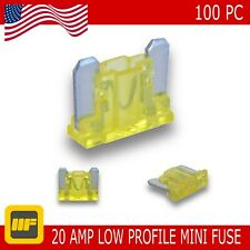 100 Pack Low Profile Mini Blade Fuse 20 Amp Marine SUV Truck Auto RV Automotive