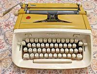 Vintage Golden Yellow Royal Safari Typewriter w/ Hard Case; Rare Script Font