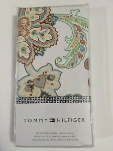 Tommy Hilfiger Dinner Table Cloth Napkin Set of 4 Spring Floral Paisley Cotton