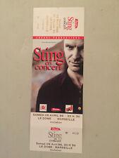 Sting Rare Concert Picture Ticket 6-22-1991 4-6-1996 Marseille