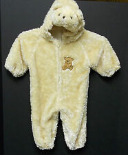 Tan Plush Teddy Bear  Halloween Costume 12-18 Month Hooded Jumpsuit