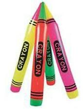 6 NEON INFLATABLE 44 INCH CRAYONS blowup toy inflate crayons novelties pretend