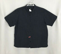 Mens Mossimo XL Navy Blue Plaid 100% Cotton Short Sleeve Button Front Shirt